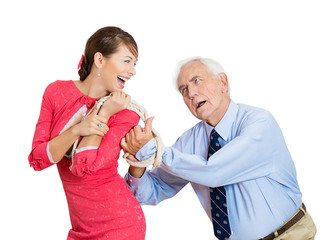 Whipped older man young wife arranged marriage concept
