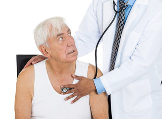 elderly patient, cardiologist annual check up, white background