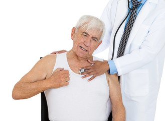 chest examination. senior elderly man visit in doctor office