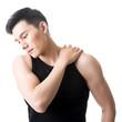 Asian young man having shoulder pain