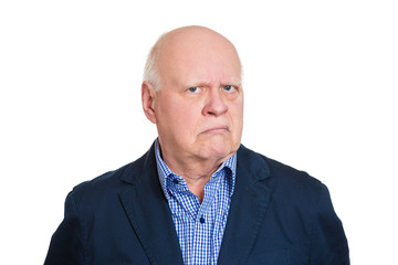 Headshot unhappy sad grumpy old man on white background