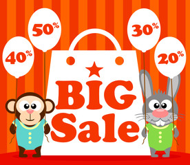 Sale poster with funny animal vector