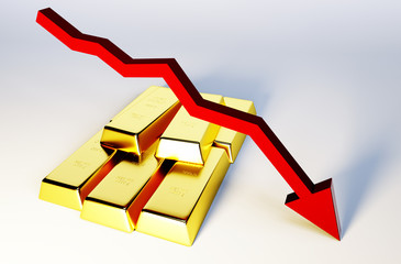 3d render image of golden bars with declining graph