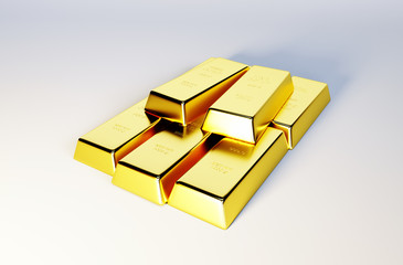 3d photo realistic image of golden bars