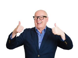 Senior guy giving thumbs up. Old nerd man