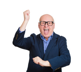 Excited old man, celebrating success, on white background
