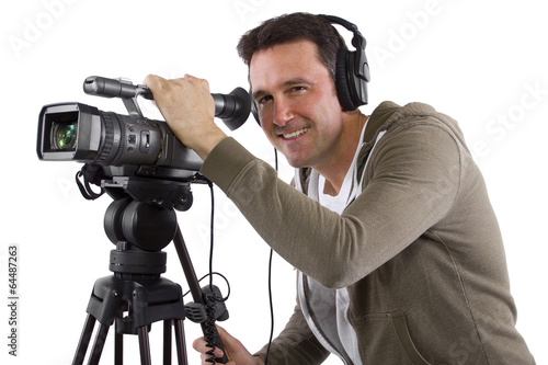 Poster video camera operator with tripod on white background