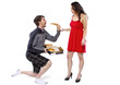 comedic unusual delivery boy offering pizza to girl