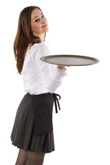 young female waitress holding blank tray for composites