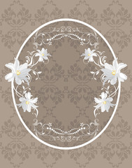 Ornamental frame with white flowers on the dark background