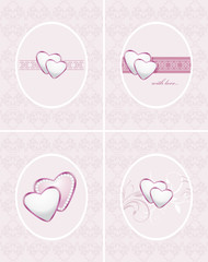 Ornamental frames with hearts. Four patterns for design