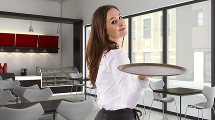 young female waitress in a cafe holding a blank tray
