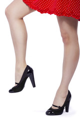 closeup of female legs stepping or stomping with high heels
