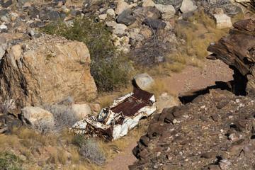 Oldtimer Wreck down in the Canyon, Namib-Naukluft-Park, Namibia
