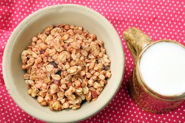 Healthy whole grain muesli breakfast