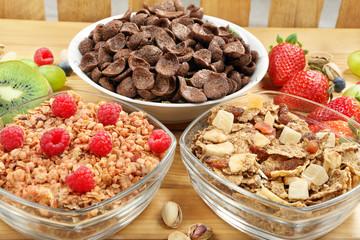 Healthy whole grain chocolate muesli and bran breakfast with fru