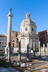 Column of Trajan's forum and the ruins of ancient Rome