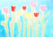 Tulips. Abstract colorful watercolors drawing background.