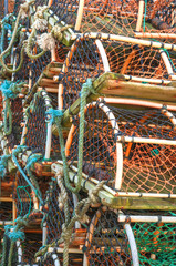 Stack of lobster crab pots traps