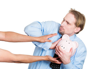 Don't steal my piggy. Risk in stock market investment concept