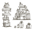Piles of presents. Doodle heaps of gift boxes. - 64488873