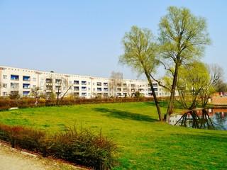 Hufeisensiedlung mit Grünanlage