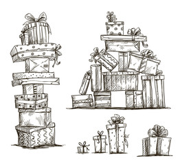 Piles of presents. Doodle heaps of gift boxes.