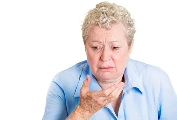 Senior woman about to vomit, feels sick, nauseated