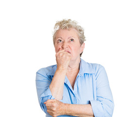 Portrait daydreaming annoyed stressed elderly senior woman