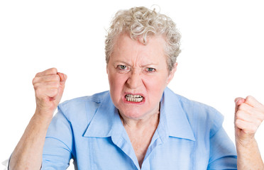 Angry yelling, elderly, senior woman, upset with someone