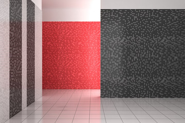 empty modern bathroom with black, white and red tiles