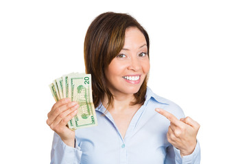 Excited happy woman, holding  pointing at her savings, money