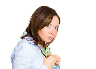 Greedy woman possessive about her money, cash