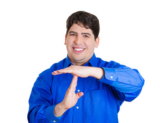 Happy business man giving time out gesture with hands