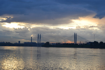 Neva River and Cable-Stayed Bridge at sunset