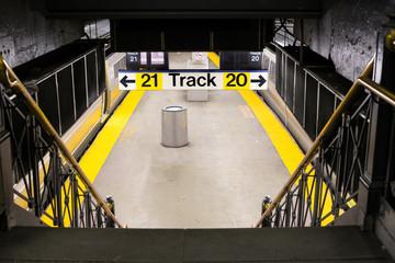 Long Island Railroad Station platform in Penn Station NYC