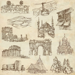 Famous places and Buildings (set no. 10, old paper)
