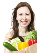 Woman Holding Large Bag of Healthly Groceries - Stock Image