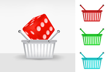 lucky dice in shopping basket colorful set concept vector