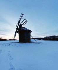 Old wooden windmills at Pirogovo ethnographic museum, Ukraine