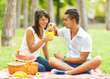 Young happy couple drinking juice in the park.