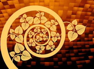 Gold patterned curve branch with leaf abstract background