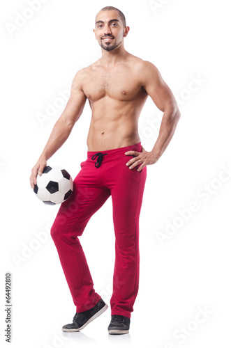 Young  football player isolated  on white