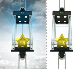golden star in sky elevator concept also isolated one