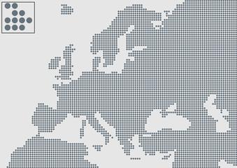 Avrupa haritası  ( gri noktalı )
