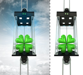 cloverleaf happiness in sky elevator concept also isolated one
