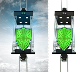 security shield in sky elevator concept also isolated one