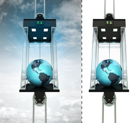 America earth globe in sky elevator concept also isolated one