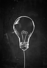 Single Bulb Sketch on Blackboard