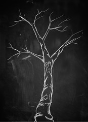 Scary branch tree on blackboard